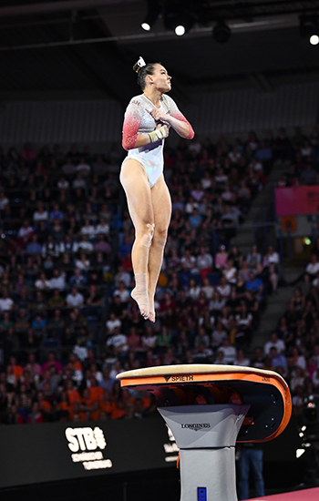 Olsen finishes just off the podium in vault final at Artistic Gymnastics World Championships